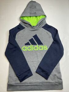 Youth Adidas Hoodie Sweatshirt- Size M (10-12) Gray, Navy Blue