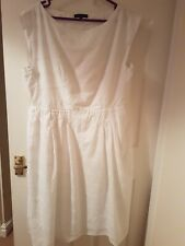 Laura Ashley White Loosefit Sundress Cotton And Lined. Size 14 /16 loosefit