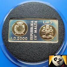 More details for 1999 2000 malta lm 5 lire millennium rectangle silver & gold proof coin + coa .