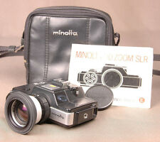 Vintage Minolta 110 Zoom SLR Camera-Case&Owners Manual-Strap-Lens Cap, Working