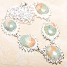 "Handmade Chrysoprase Jasper Gemstone 925 Sterling Silver Necklace 20"" #N00835"