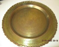 """Vintage 14"""" Brass /Copper Platter Wall Decor w/ Engraved Fish Design Tooled edge"""