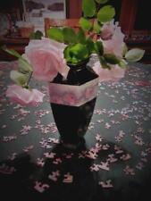Nippon Noritake Vase Six Panel, Pink Rose Blossoms/Dark Green  C. 1911