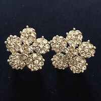 VINTAGE 1950's Crystal Floral Flower Stud Statement Hollywood Glamour Earrings