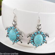 JAP:Boucle D'Oreille Tortue Turquoise Pendants Femmes Bijoux Accessoire Strass