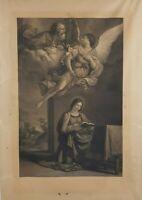 Annunciazione GUERCINO 1646 ANTICA STAMPA ACQUAFORTE OLD PRINT BARBIERI PREZIOSA