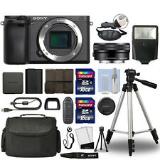 Sony Alpha a6300 Mirrorless Digital Camera with 16-50mm Lens Black + 32GB Bundle