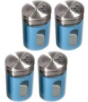 4x Gewürzstreuer-Set Streuer Aromabehälter aus Glas & Edelstahl 8x5x5cm - blau