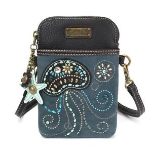 New Chala Cell Phone Purse Crossbody Pleather Blue Dazzled Jelly Fish Converts