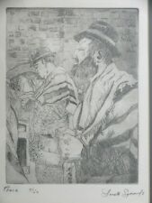 ANETTE SYMONDS ETCHING PEACE ORIGINAL PRINTS 5/50 JEWISH PRAYING