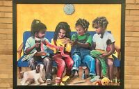African American Black Ethnic Art Children Wood Framed Textured Picture Print