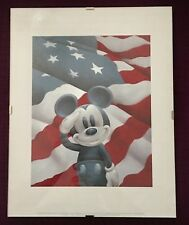 """Mickey Salutes American Flag ~ 11"""" x 14"""" with Glass Frame, Great Condition, NICE"""