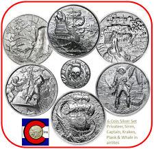 Silver Privateer, Siren, Captain, Kraken, Plank & Whale (6-2oz coins w/airtites)