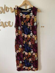Alice + Olivia Womens Floral Embroidery Print Midi Length Black Dress Sz 12