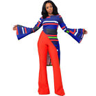 Women Fashion Long Flare Sleeve Stripe Print Irregular Casual Clubwear Tops