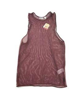 New Reebok Knit Mesh Tank Top M Medium Maroon Cover Up Sheer Shirt Womens