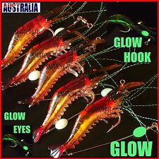 5 x GLOW Rigged Prawn Lures Bream Flathead Whiting Bass Fishing Soft Plastics
