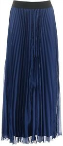 Laurie Felt Pleated Pull-On Skirt Navy L NEW A352568