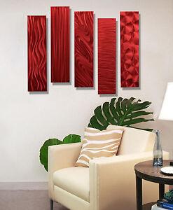 Metal Art Abstract Hanging Wall Sculpture Modern Home Decor Jon Allen 5pc Red