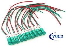 (10) Yuco YC-9WPM-5G-220-N Neon Panel Mount Indicator Light 9mm Green 220VAC/DC