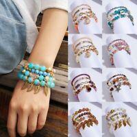 New Multilayer Crystal Beads Leave Love Tassel Bracelets Women Bangles Jewelry
