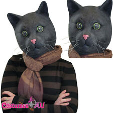 Black Cat Head Scary Halloween Party Facial Mask Latex Animal Cosplay Costume
