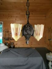 Vtg Art Deco Slip Shade 2 Light Ceiling Fixture  *Rewired* Ready to Hang c1930s