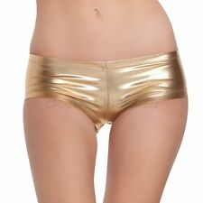 Womens Sexy Patent Leather Pants Underwear Pole Shiny Tight Booty Dancing Shorts