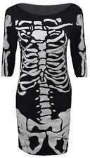 Nuevo para mujer Skelton Estampado Halloween Vestido Bodycon Midi señoras tamaño del Reino Unido 8-14