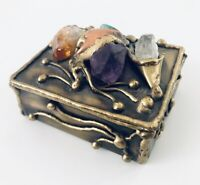 One Of Kind Brass Trinket Box W Large Amethyst Citrine Crystalline Emerald Stone