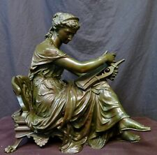Vintage Bronze, Woman with Lyre, by Jean Louis Gregoire