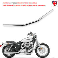"7/8"" 22mm Chrome Motorcycle Drag Bar Handlebar For Harley Honda Suzuki Yamaha"