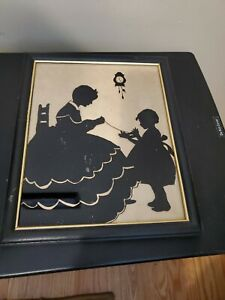 Vintage Silhouette Reversed Painting -Mother & Daughter Knitting