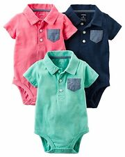 Carter's 3-Pack Short-Sleeve Bodysuits (Pink) 6M