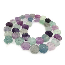 Carved AAA rainbow fluorite plum blossom flower round loose gemstone beads 16""