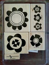 Stampin' Up BIG BLOOMS Set of 5 Wood Mounted Rubber Stamps Lot Flowers
