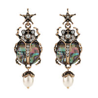 Ear Studs Rhinestone Acrylic Pearl Insect Star Skull Antique Gold 60x20mm P357