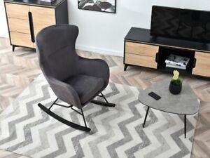 Brand New Dark Grey Graphite Modern Rocking Chair Velvet Nursery