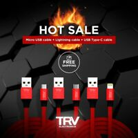 3 Pack USB Charge Cable:1 Lighting + 1Type C + 1Micro USB Fats Charging and SYNC