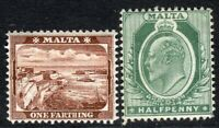 Malta 1904 brown 1/4d green 1/2d multi-crown mint SG45/47