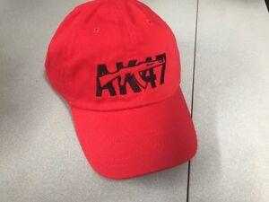 AK-47 Red W/Black Logo Hat Cap Gun Pistol Firearm Rifle Weapon Embroidery