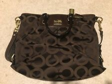 Coach Madison Brown Canvas Shoulder Bag Tote w/ Matching Wallet