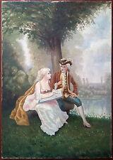 """Ancien Tableau """"Scène Galante"""" Peinture Huile Antique Oil Painting"""