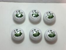Lot of 6 Ceramic Round Knob Cabinet Door Drawer Dresser Pull Handle Floral Mums