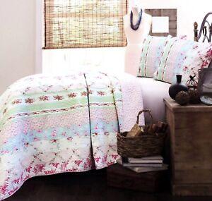 Wild Rose Enchantment Patchwork 100% Cotton Quilt Set, Bedspread, Coverlet