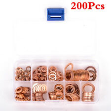 Car SUV Engine Oil Drain Bolt Crush Washers O-Ring Copper Gasket 200PCS 9 Sizes
