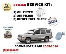 FOR JEEP COMMANDER 3.0 CRD EXL 2005-12/2010 NEW OIL AIR FUEL FILTER SERVICE KIT