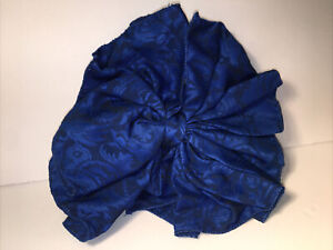 VTG 80s Silky Blue BROCADE FRENCH Hair BOW Barrette CLIP Ribbon SCARF Oversized