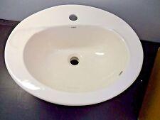 "Kohler KARAT Bathroom Drop In Oval Sink, Ceramic Self Rimming Basin Beige 20"""