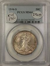 1944-S Walking Liberty Silver Half Dollar 50c Coin PCGS MS-64 Lightly Toned DGH